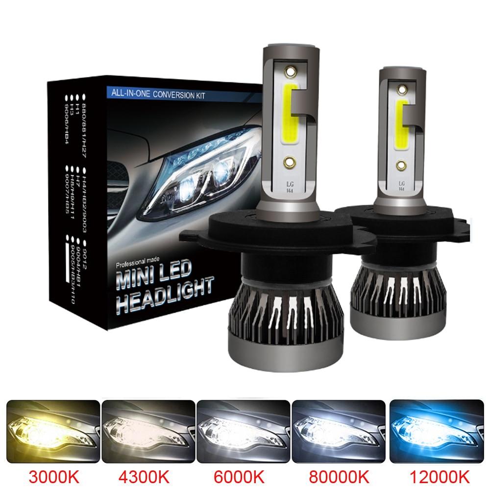 Muxall 2PCS LED 12000LM/PAIR Mini Car Headlight Bulbs H1 H7 H8 H9 H11 Headlamps Kit 9005 HB3 9006 HB4 Auto Lamps 4300K 8000K