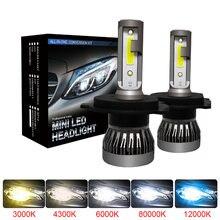 Muxall 2 шт. светодиодный 12000LM/пара мини-автомобиль лампы для передних фар H1 H7 H8 H9 H11 комплект фар 9005 HB3 9006 HB4 лампы для передних автомобильных 4300 К ...