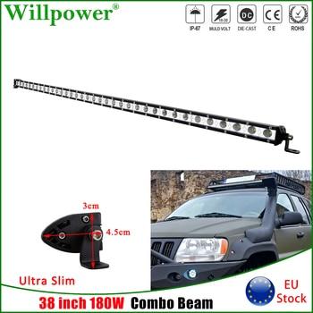 цена на Single Row 38 inch 180W LED Work Light Bar For Jeep Wrangler JK 4x4 Offroad 4WD Auto SUV ATV UTV Slim LED Bar Combo Driving Lamp