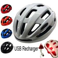 CATCHDREAM Radfahren Helm Mit Rechargable LED Licht 56-62cm Atmungs MTB Straße Rücklicht Bike Fahrrad Casco Ciclismo Helm