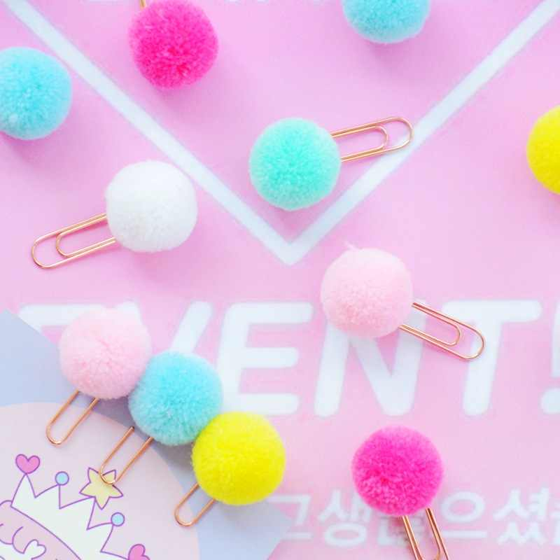 6pcs/set Cute Hairball Rose Gold Cilp Modelling Paper Clip Fashion Business Office Lady Style Office Stationery Set Paper Clips
