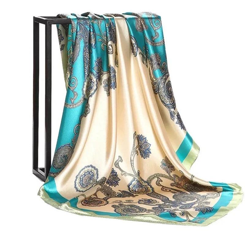 Image 5 - Silk Scarf Women Print hair neck Square Scarves Office Ladies  Shawl Bandanna 90*90cm Muslim Hijab Handkerchief muffler foulardWomens  Scarves