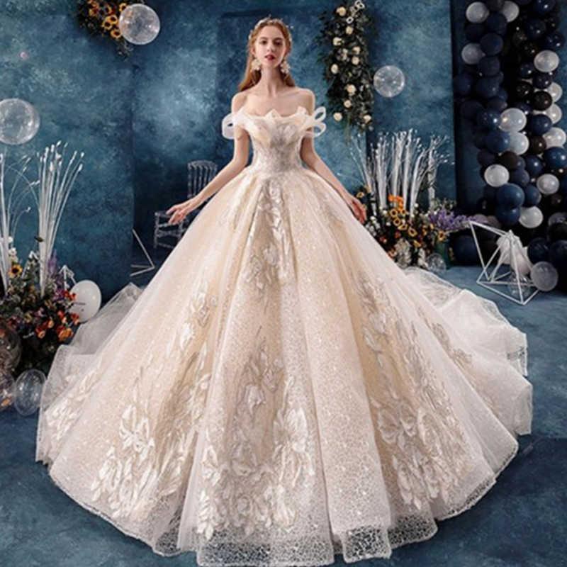 Alilove Wedding Dress 2019 Champagne White Off Shoulder Grace