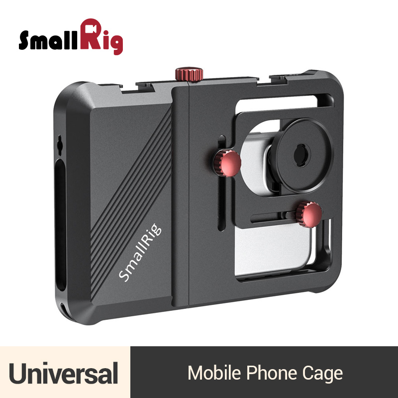 SmallRig Professional Universal Mobile Phone Cage Vlogging Cage For Smartphone With 63.5mm to 87.5mm Range -2494