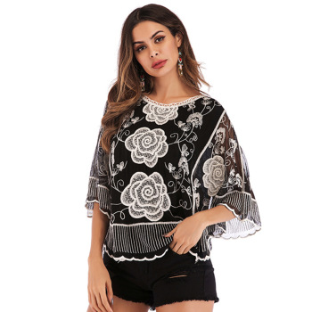 2020 Europe Rose restonic shan Female Holiday Beach Blouse Hollow Relaxed Casual Summer image