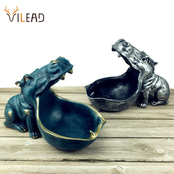 VILEAD Resin Hippopotamus Statues Morden Home Decoration Gifts Decor Accessories Hippo Living Room Creative Decorations