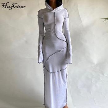 Женское платье макси Hugcitar, с длинным рукавом, с капюшоном, в стиле пэчворк, на осень и зиму, Повседневная Уличная одежда, 2020 4