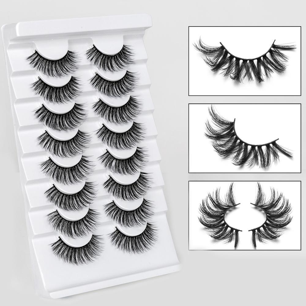 Image 4 - 2/4/8/10 Pairs Lashes 3D Mink Eyelashes Natural Long /Thick False Eyelashes Handmade lashes Makeup Extension Eyelashes-in False Eyelashes from Beauty & Health