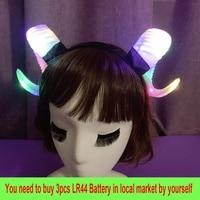 LED Glitter Devil Horns Headdress Gothic Ram Horns Headband for Women Hair Accessories Ram Horns Hair Band Halloween Cosplay