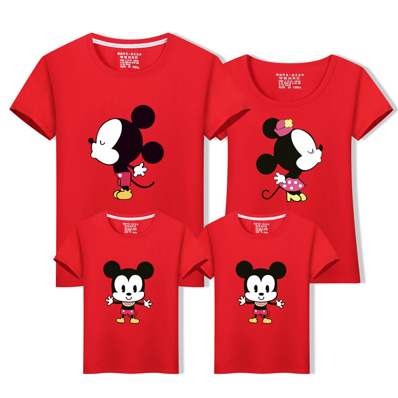 Family Clothes T-shirt Mommy Daddy Child Mickey Minnie Tops Cotton Cartoon For Family Tourism T-shirt Fashion Parent-child
