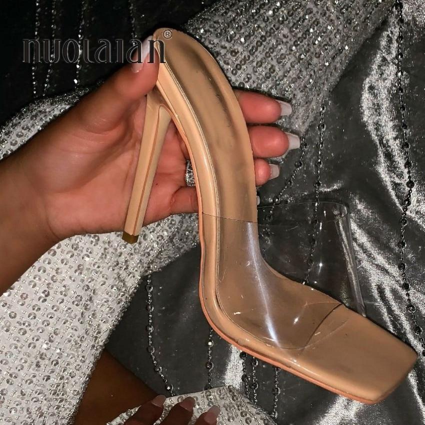 2020 Fashion PVC Transparent Sandals Women Shoes Square Toe Stilettos High Heels Sandals Summer Heels Mules Shoes Woman