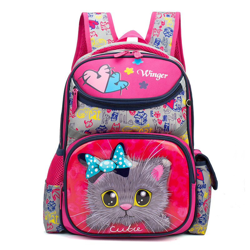 2019 Girls Orthopedic School Backpacks Grade 1-3 Children Schoolbags For Kids 3D Cat Backpack Boys Satchels Mochilas Infantil