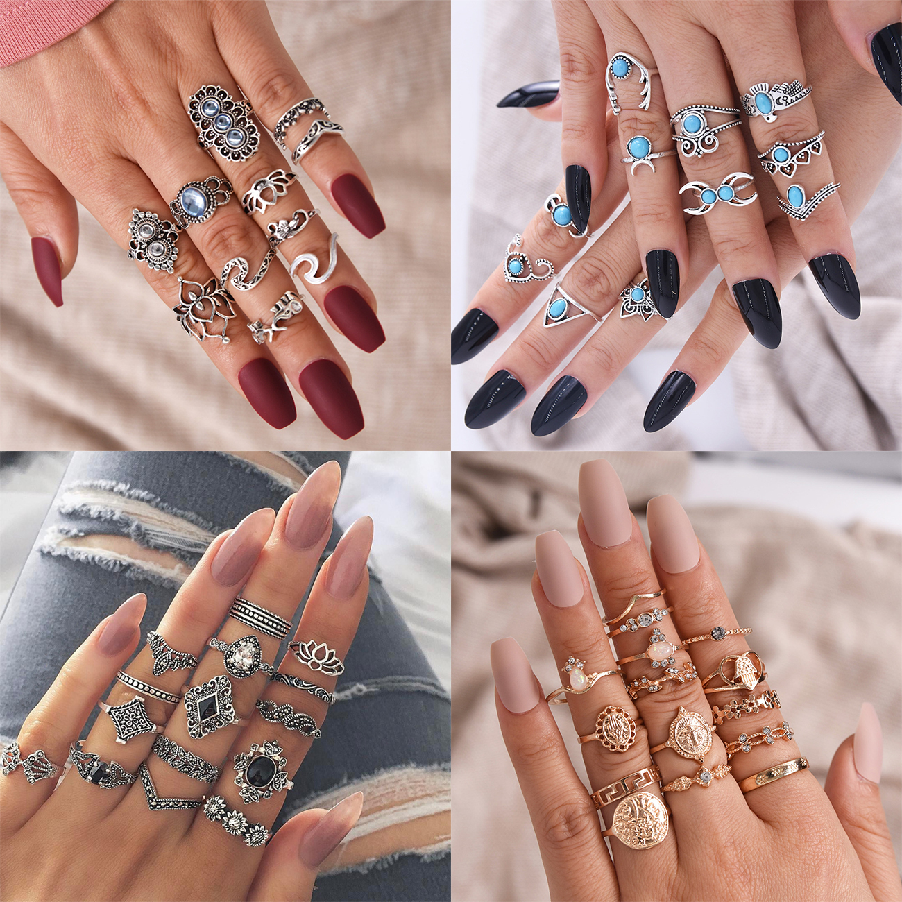15 Pcs/set New Vintage Gold Coin Beauty Head Pattern Cross Love Heart Ring Set Women Wedding Anniversary Gift 5