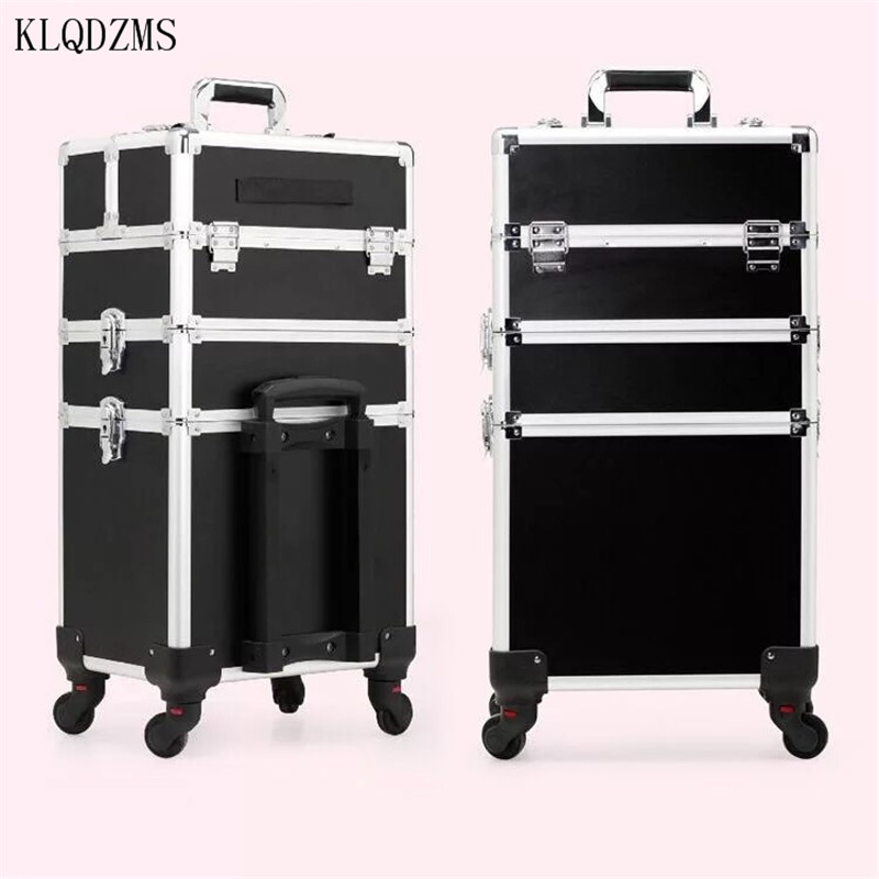 KLQDZMS Luxury Fashionable Multifunction Women Makeup Cosmetic Case Convenient Rolling Luggage Spinner Suitcase Wheels