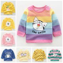 Новые осенние детские футболки для девочек и мальчиков; новые детские футболки с длинными рукавами; топы с принтом с героями мультфильмов; футболки; Повседневная Блузка; сезон весна