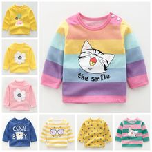Autumn New Baby's T-shirts For Girls Boys New Long Sleeve Kids T-shirts Cartoon Printed Tops Tees Casual Blouse Spring