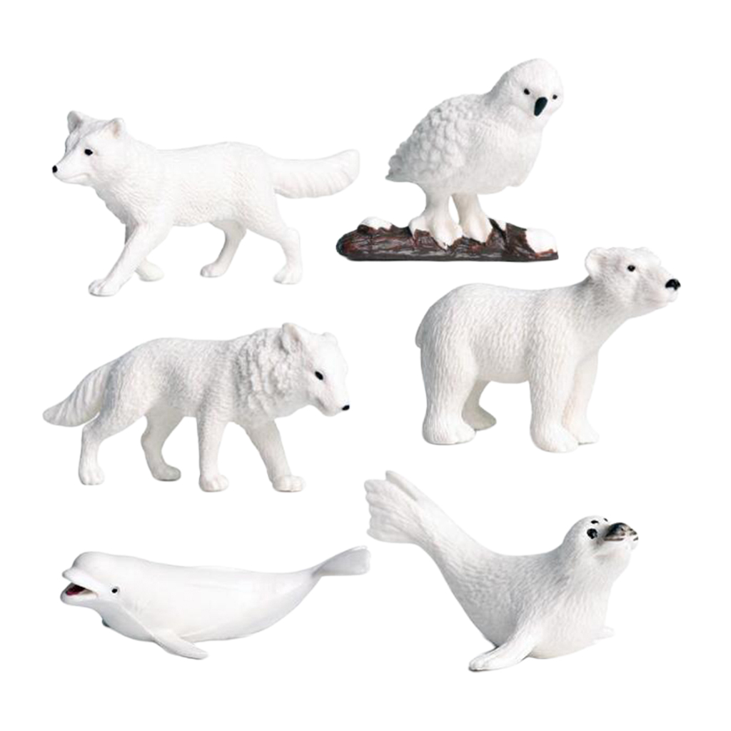 Polar Animal Toy Figurines Set, Simulation North Pole Animals Model For Kids 3-Years-Old & Up (6 Pcs)