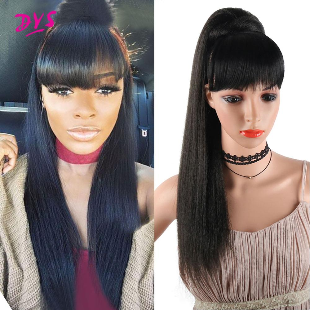 Deyngs Synthetic Yaki Straight Ponytail With Bangs Clip In Hair Extension Afro Drawstring Ponytail African American 22 Inch