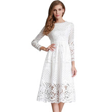 Midi Dress Winter Autumn Satin Loose Lace Long Sleeve Embroidery Cute Flower White Black Hollow Out A Line Party Dresses(China)