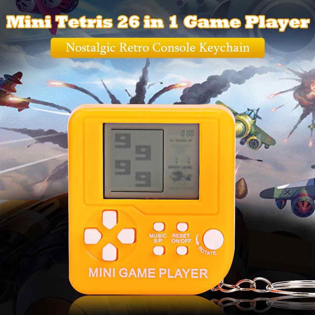 미니 휴대용 26 게임 콘솔 키 체인 핸드 헬드 향수 레트로 클래식 테트리스 게임 플레이어 키즈 교육 완구 어린이 선물