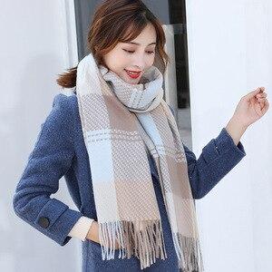 Image 2 - Bufanda de lana de Cachemira tejida, bufanda larga con calentador de Tessel, bufanda de moda para invierno, regalo de lujo para mujeres