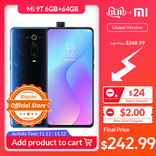 Xiaomi 9T 6GB 64GB Redmi K20 GSM/WCDMA/LTE Nfc Quick Charge 4.0 Elevating camera/Gorilla glass/Bluetooth 5.0/Game turbogpu turbo