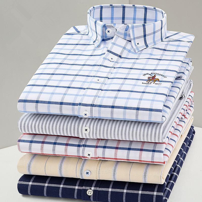 2020 New Arrival Men Shirt Oxford High Quality 100% Cotton Shirt Male Long Sleeve Shirts Casual Dress Fashion Shirts DS369