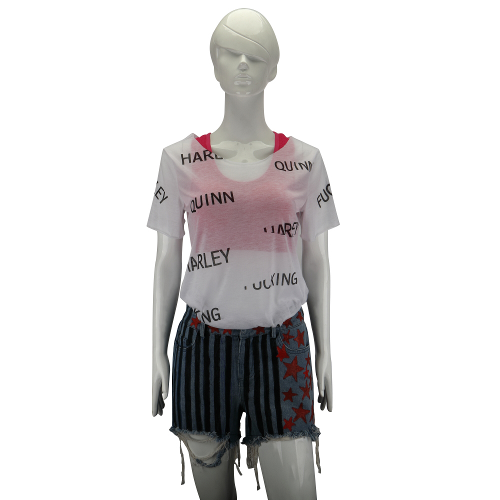 New Cosplay Birds of Prey Harley Quinn Suicide Squad Costumes Vest Short Pants T-Shirt Woman Halloween Costume Party Prop (2)