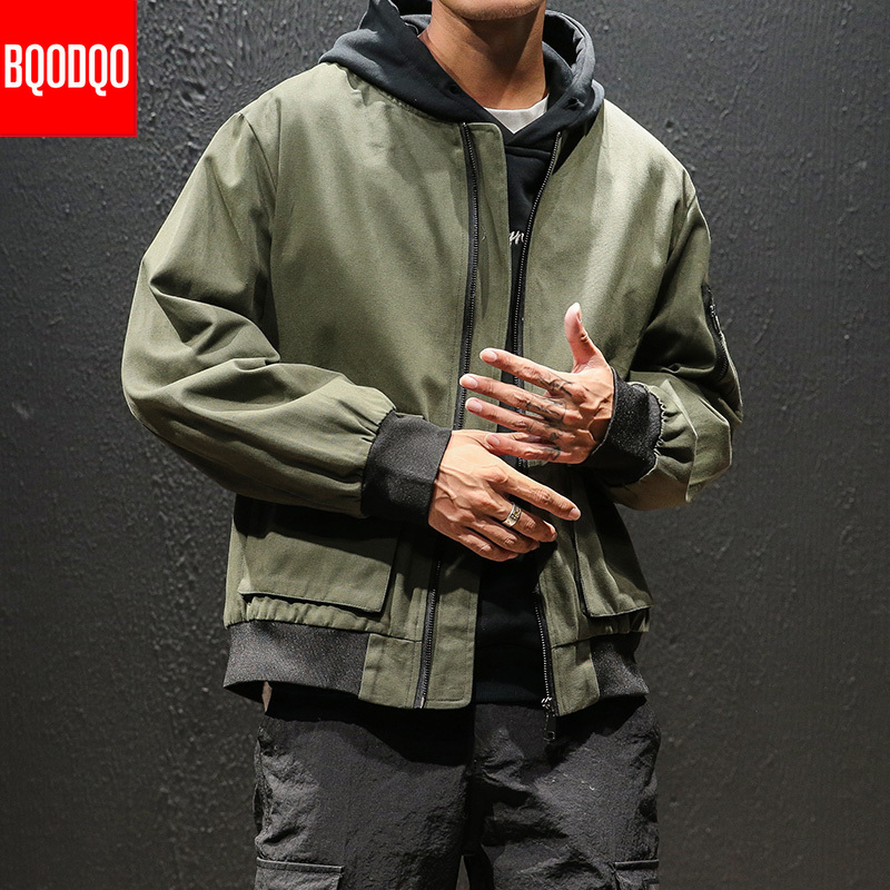 Military Bomber Jacket Men Oversized Baseball Collar Black Army Green Cotton Autumn Coats Male Fashion Streetwear Casual Jackets