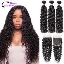 Cranberry Hair peruwiański Water Wave zestawy z zamknięciem 4 sztuk/partia bezpłatne środkowe trzy części Remy ludzki włos 3 zestawy z zamknięciem