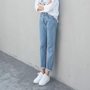 Image 2 - ג ינס נשים קיץ גבוה מותניים ישר Slim קוריאני סגנון נשים Streetwear נשי רוכסן כיסים פשוט כל התאמה שיק מכנסיים