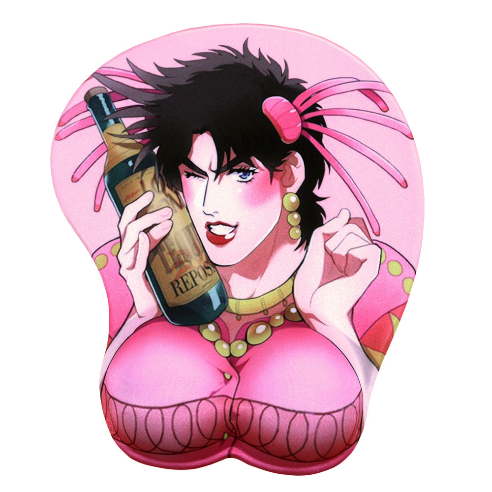 FFFAS JoJo Joseph Joestar 3D Wrist Rest Mouse Pad Mat Pink Jo Jo Bizarre Adventure Mousepad For Laptop PC