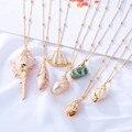 Женское винтажное ожерелье, длинное ожерелье с кулоном в виде раковины и морских ракушек с золотыми бусинами в богемном стиле, 2019