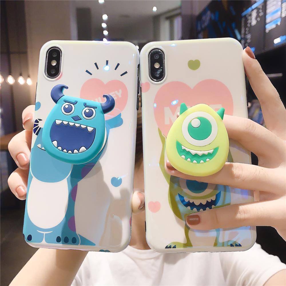Funny Cartoon Cute Lovely Girly Couple Phone Case For iPhone X 8 7 6 6s plus XS11 Pro Max XR Grip Holder Stand Back Cover Coque-in Fitted Cases from Cellphones & Telecommunications