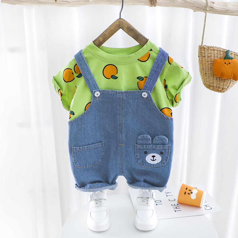 Baby Boys Girls Summer Clothes Print Set T-shirt Denim Short Overall Children Clothing Short Sleeve Suit Toddler Outfit Orange