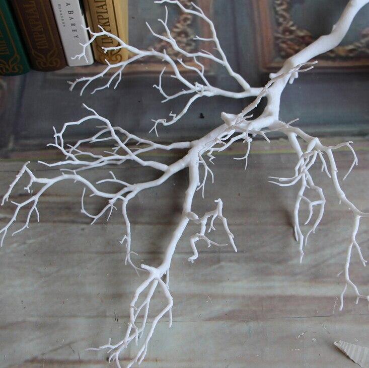 1 шт. искусственные черно-белые ветви деревьев пластик Коралл искусственные цветы для дома свадебные декоративные сушеные ветви деревьев H90CM - Цвет: Белый
