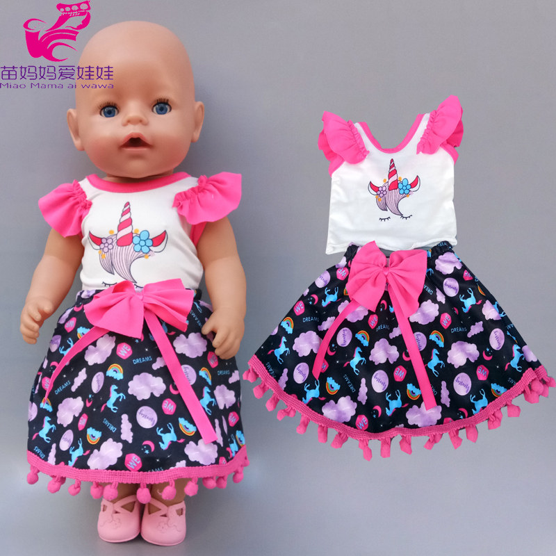 Doll Unicorn Dress Fit For 43cm New Born Baby Doll 18 Inch Girl Doll Clothes Dress