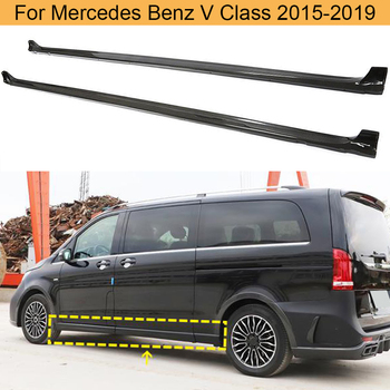 Car Side Skirts Body Kits For Mercedes-Benz V Class V250 V220d 2015-2019 Car Side Door Skirts Extension Lip Aprons Carbon Fiber image