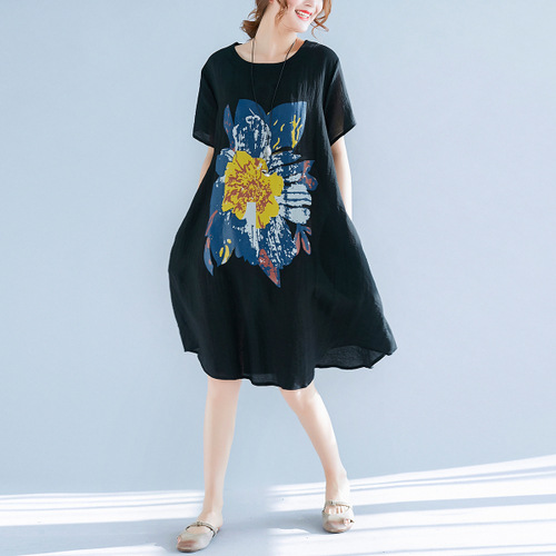 Summer New Style Korean-style Extra Large WOMEN'S Dress Fat Mm Slimming By Age Mid-length Cotton Linen Short Sleeve Black Dress