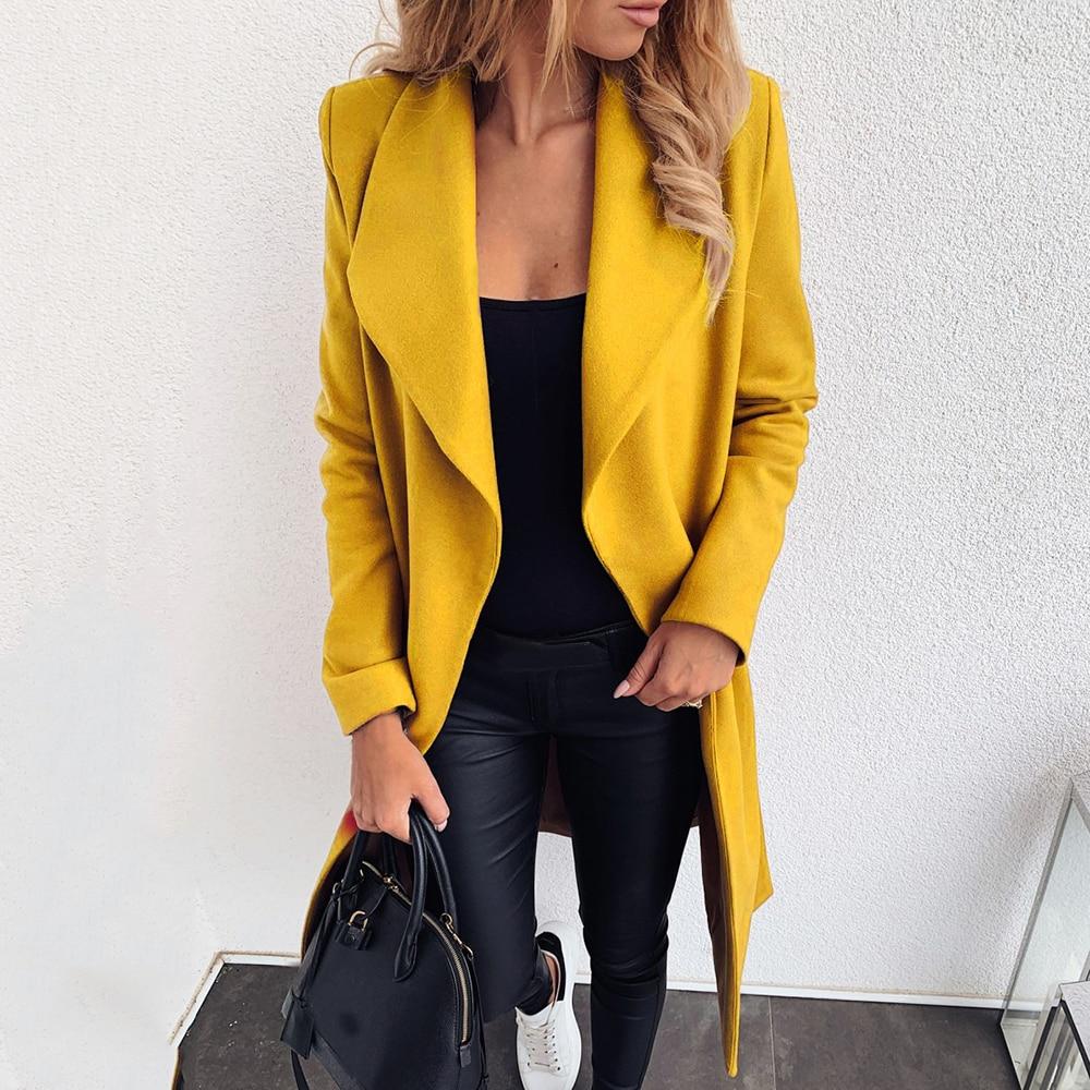 LASPERAL Autumn Winter Women Solid Color Streetwear Bandage Long Sleeve Woolen Coat Ladies Casual Slim Thick Outwear Plus Size
