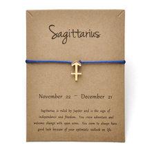 12 Constellation Zodiac Sagittarius Message Card Bracelet Jewelry Lucky Rope Bangles For Women