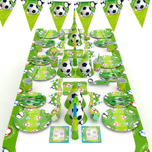 World Football theme birthday party tableware set Sports football decorations  straw Kids Favor Boys Party Decoration
