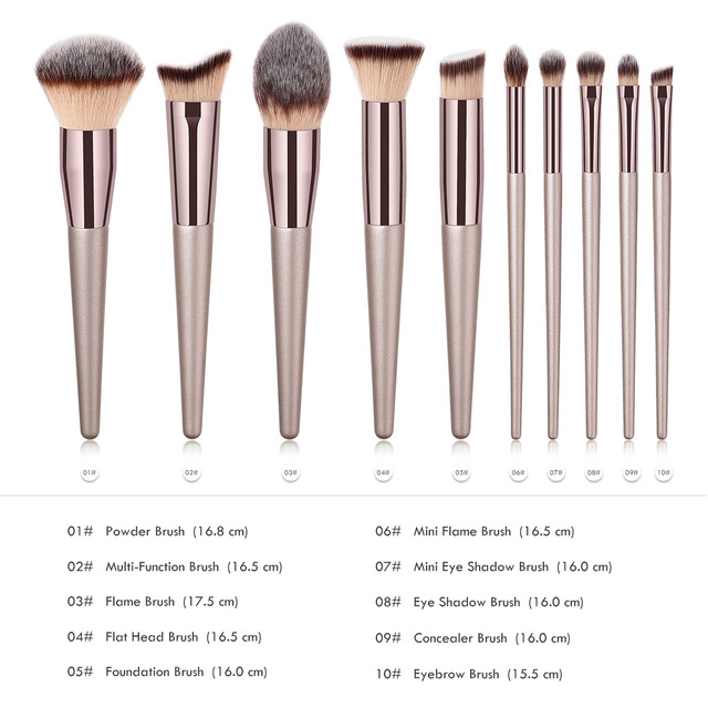 Luxury Champagne Makeup Brushes Foundation Powder Blush Eyeshadow Eyelash Concealer Lip Eye Blending Brush Make Up Brushes Set 5