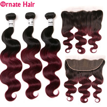 Ombre Hair Body Wave Bundle With Frontal Closure Brazilian Colored Human 1B/99J/Burgundy Ornate NonRemy