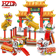 BZDA  Chinese  Lion  Dance  New Year  Blocks  Spring  Festival  Temple  Stage   Street  View Building Block  Kids Toys 7 Figures