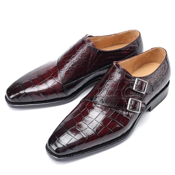 Men Crocodile PU Leather Shoes Low Heel Shoes Buckle Dress Shoes Brogue Shoes Spring Ankle Boots Vintage Classic Male Casual F59