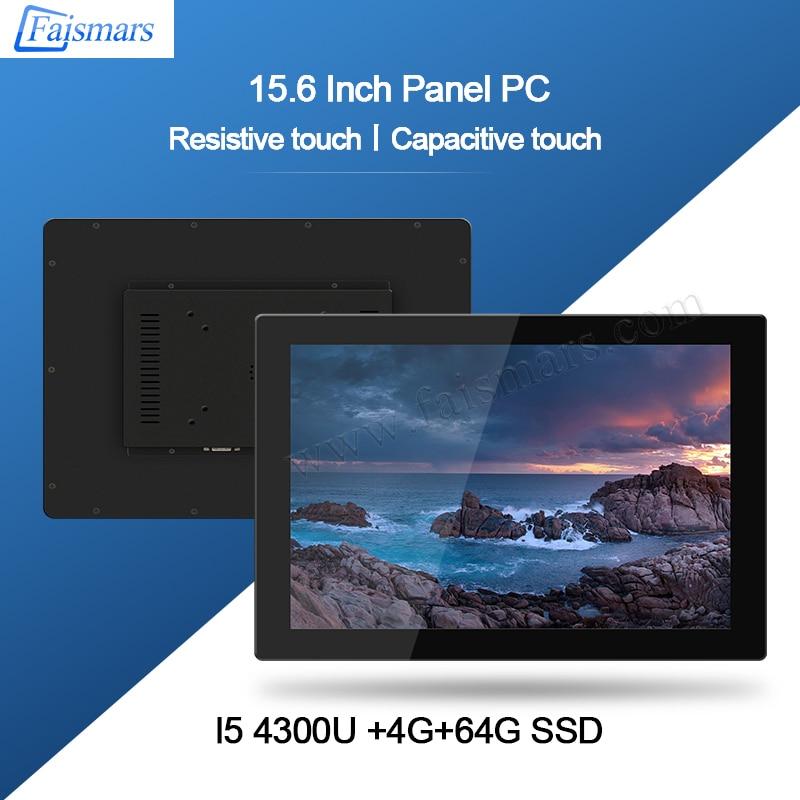Faismars Mini PC Intel Haswell-U Processor Core I5 4300U 15.6 Inch Industrial Touch Screen Mini Computer With HD Graphics 4400