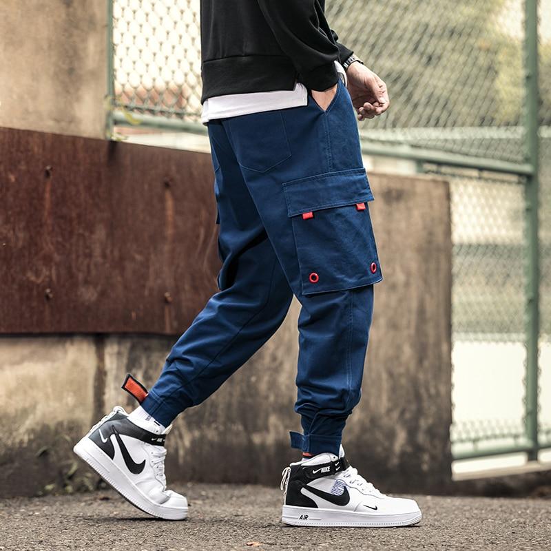 New Hot Casual Multi-Pockets Elastic Waist Stylish Men's Joggers Trousers Fashion Autumn Solid Harem Cargo Pants Streetwear