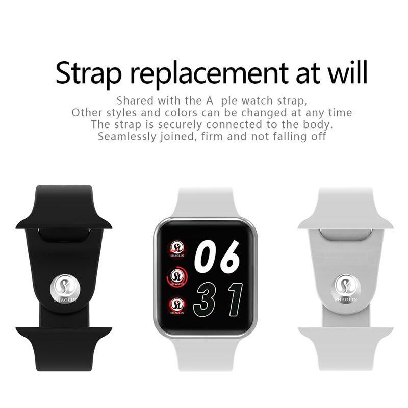 50% de réduction sur montre intelligente série 4 SmartWatch étui pour apple 5 6 7 iPhone Android téléphone intelligent moniteur de fréquence cardiaque pedometor (bouton rouge) - 3