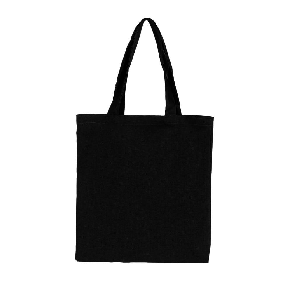 2019 Ladies Handbags Cloth Canvas Tote Bag Black Shopping Travel Women Eco Reusable Shoulder Shopper Bags Bolsas De Tela